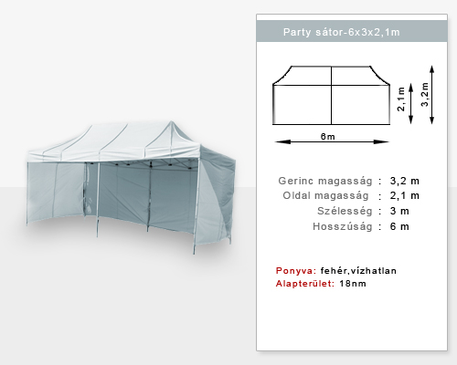 6X3m Party sátor